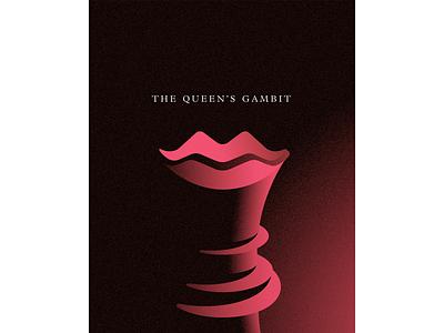 The Queen's Gambit queen adobe ilustrator poster lips crown illustration the queens gambit chess vector