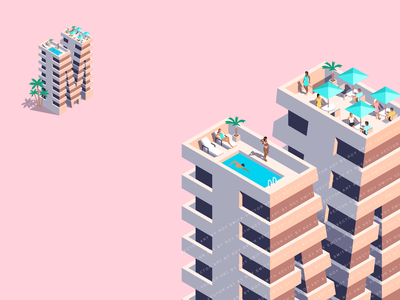 Miami Beach Condo Painters hotel holiday vacation building florida tropical miami condo pink vector isometric