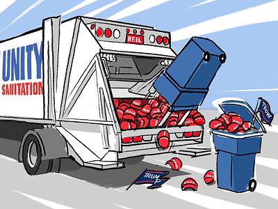 Reset cartoon president biden unity procreate illustration truck trump