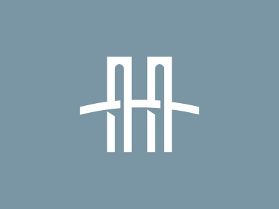 Hudson Heights h logo type hudson bridge arch blue negative space illustration new york manhattan icon