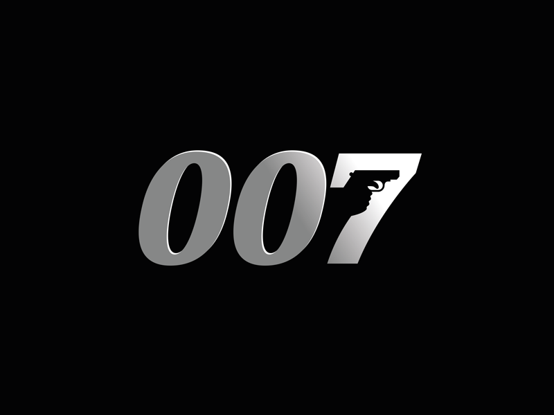 007 negative space gun silver spectre bond 007 type logo