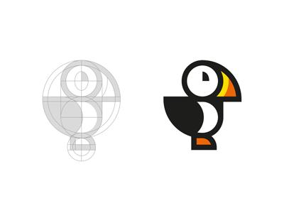 Puffin minimal shapes geometric puffin bird icon illustration logo