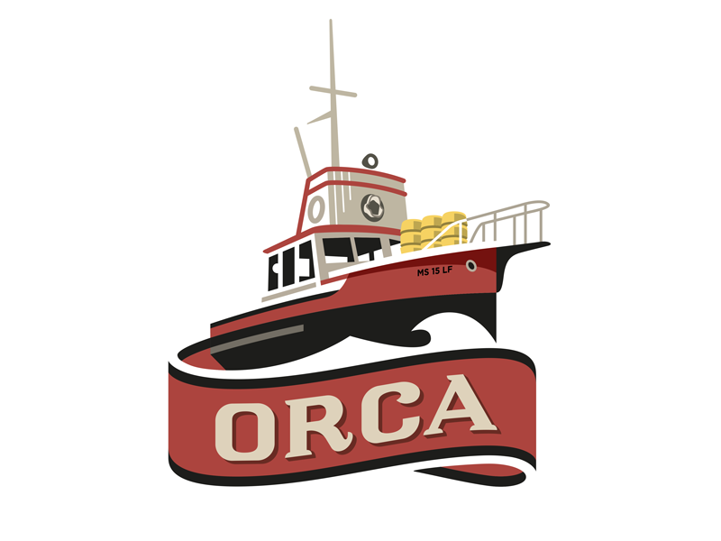 Orca vector type ship shark orca logo jaws illustration fishing crest boat