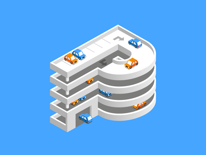 P 36daysoftype car park 36 days of type 3d illustration vector logo type isometric p