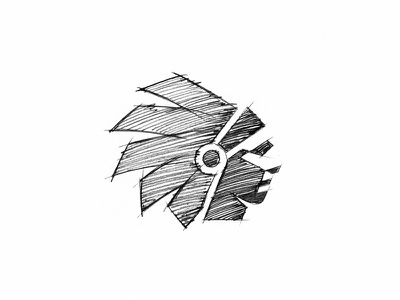 Scout indian negative space identity head sketch logo icon native american chief