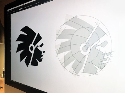 Scout grid identity indian head negative space illustration logo icon native american chief