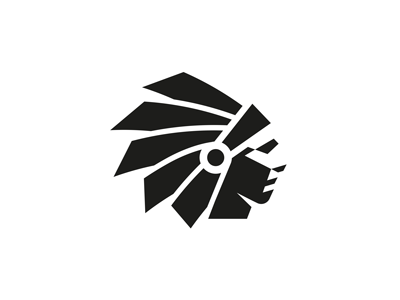 Scout final mark chief native american icon logo head identity negative space indian