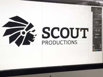 Scout tv location film typography nativeamerican negativespace logo indian identity icon head chief