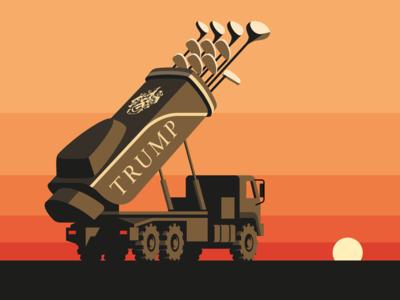 Locked and Loaded truck rocket sunset illustration vector golf kim jong un trump