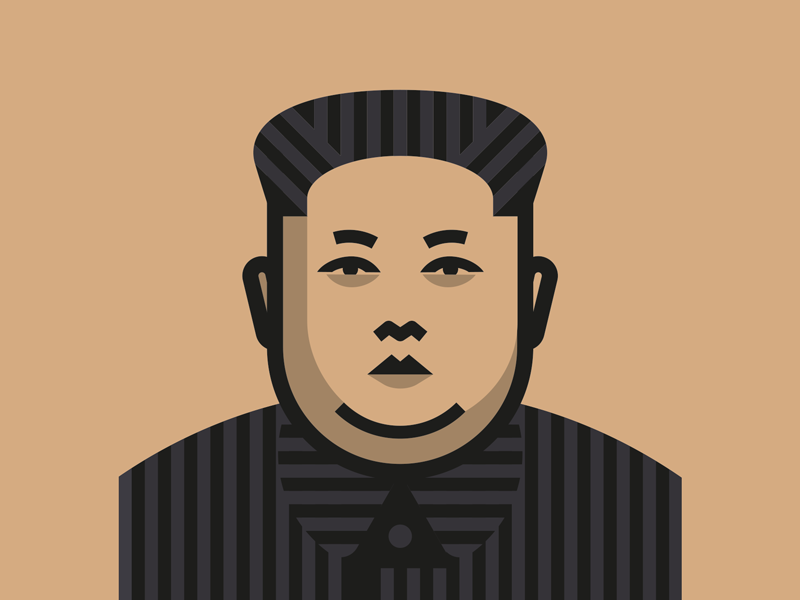 'Rocket Man' illustration kim jong un face vector icon logo trump