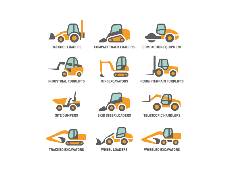 Construction machinery rental - 1 by Roy Smith on Dribbble