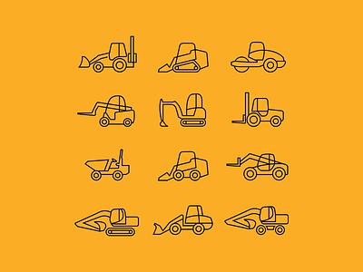 Construction machinery rental - 3 transport machinery construction vector illustrator illustration ux ui icon logo