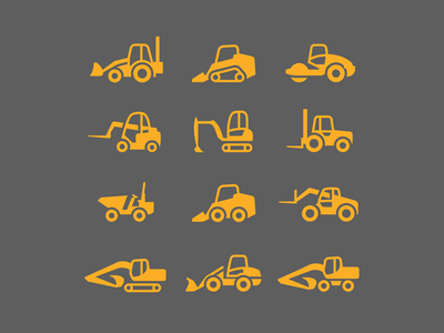 Construction machinery rental - 2 transport machinery construction vector illustrator illustration ux ui icon logo