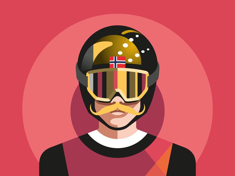 Robert Johansson sports skijumper ski winterolympics vector illustration