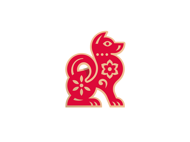 Year of the Dog flower badge pin red chinese new year illustration animal dog logo
