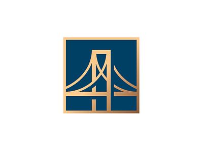 Bridge pier badge nyc pin icon gold bridge illustration logo