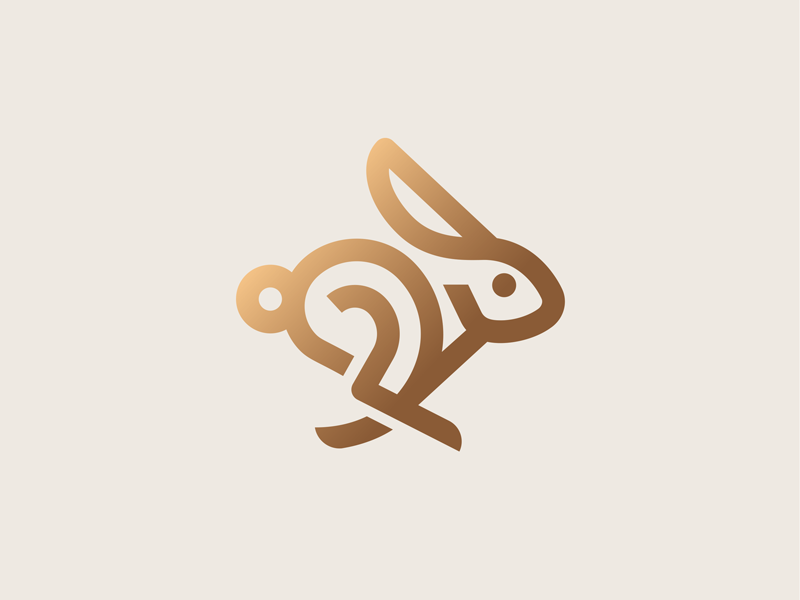 Bunny hare running bunny easter animal rabbit illustration icon logo