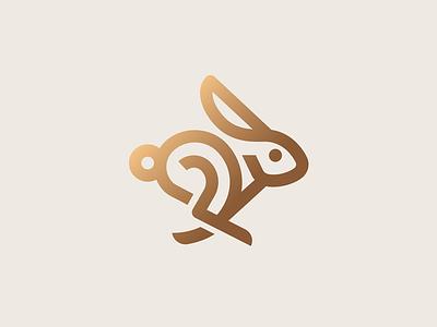 Bunny minimal hare running bunny easter animal rabbit illustration icon logo