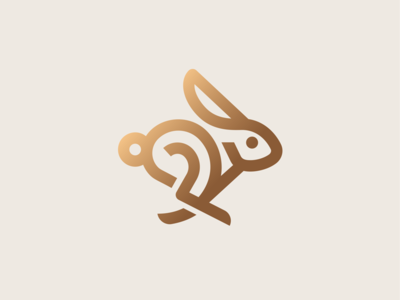 Bunny minimal hare running bunny easter animal rabbit illustration icon logo