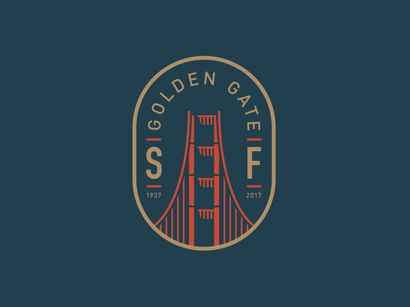 Golden Gate Bridge san francisco logo badge illustration icon golden gate bridge bridge patch