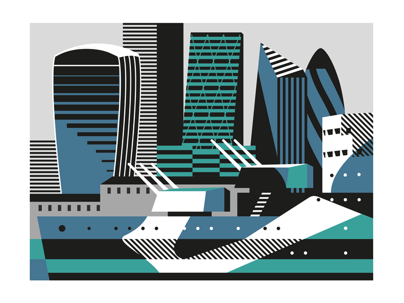 The Square Mile vector cityscape ship skyline london dazzle illustration city