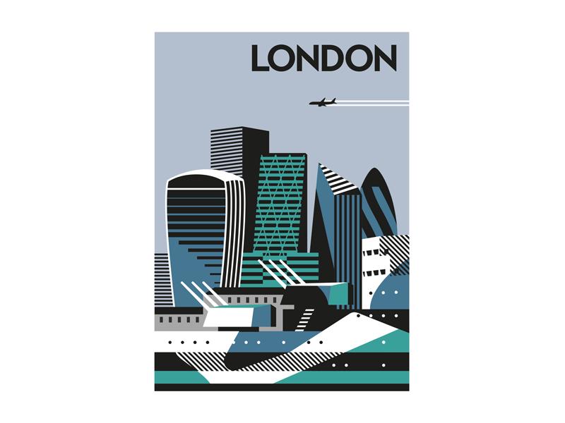 The Square Mile cover negative space vector cityscape ship skyline london dazzle illustration city