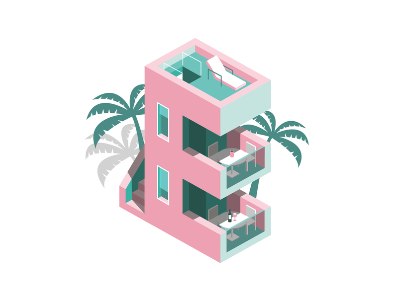 Miami Heat e 36 days of type florida vacation palm tree pink icon isometric illustration type miami logo