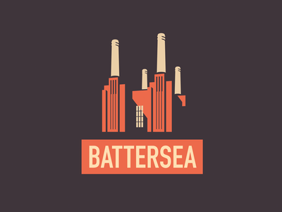 Battersea negative space logo vector illustration architecture art deco icon london power station battersea