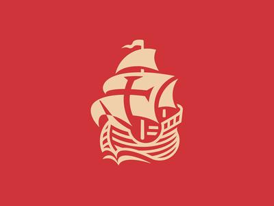 Santa Maria vector columbus carack cross negative space illustration santa maria boat ship sailing ship icon logo