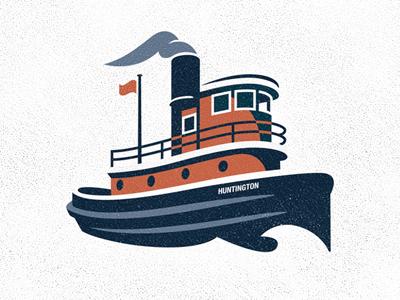 Tugboat water sea vector illustration boat ship vintage orange blue design