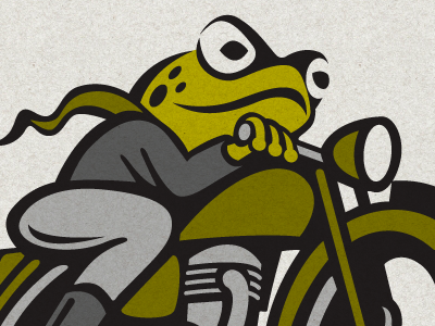 Lee Jackson logo toad frog motorcycle cartoon green clothing classic illustration identity