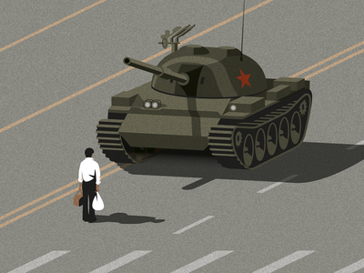 Tank Man isometric china vector tank man tank illustrator tiananmen square illustration