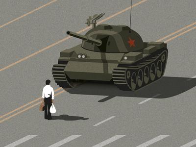 Tank Man isometric china vector tank man tank illustrator tiananmen square illustration