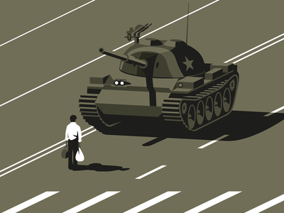 Tank Man tank man tank vector china tiananmen square illlustrator illustration