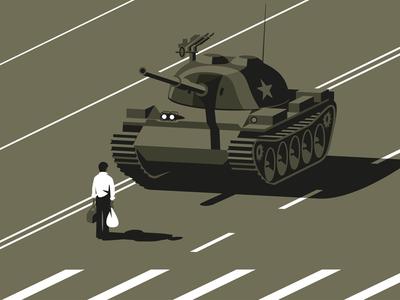 Tank Man tank man tank vector china tiananmen square illlustrator illustration