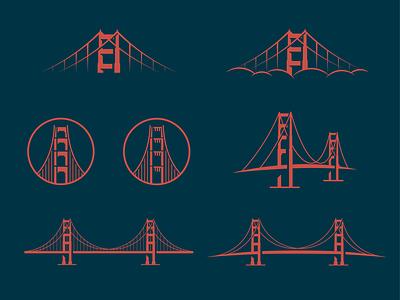 Golden Gate Bridge branding packaging illustration illustrator vector icon logo sf san francisco bridge