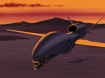 Drone oil xenomorph alien sunset illlustration procreate trump iran drone