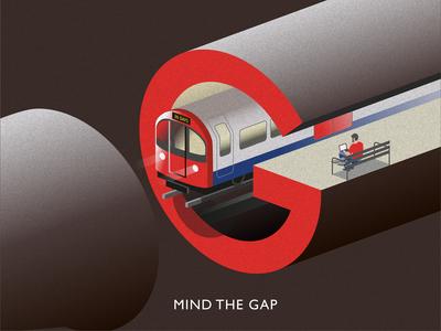 Mind the Gap logo illustration underground tube subway typography type mind the gap london train g 36 days of type