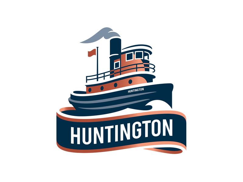 Huntington branding nyc heritage boat tugboat illustrator ship type vector illustration logo