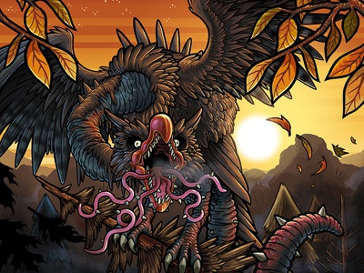 Thorntongue Snallygaster snallygaster card art dragon monster game illustration game art game illustration