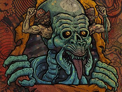 Ripper drawing wrester ripper skull illustration art
