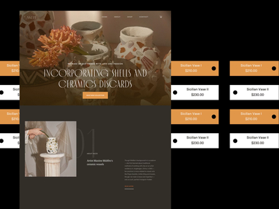 Vazze Website homepage ecommerce design minimalist photography ecommerce web design modern whitespace vase ceramics website layout typography minimal