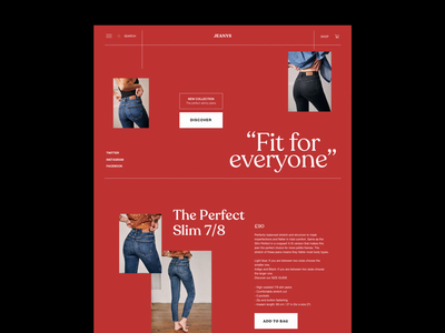 Jeanys eCommerce Website jeans editorial whitespace website ecommerce design ecommerce fashion photography modern layout typography minimal
