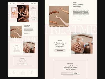 Skin Studio Website about us page subscribe homepage cosmetic cosmetics serif web design website fashion photography modern layout typography minimal skin care skin