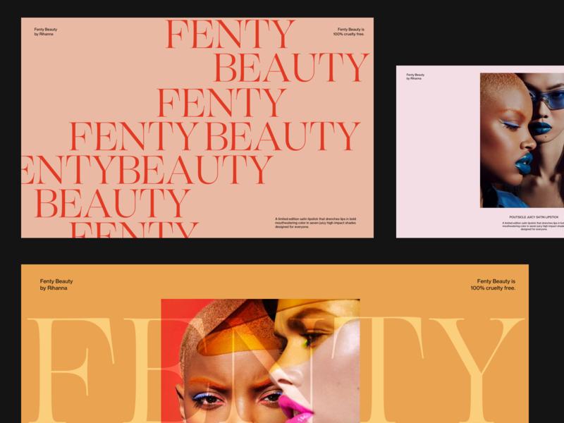 Fenty Beauty Editorial Presentation serif editorial design minimalist editorial fashion photography modern layout typography minimal beauty product fentybeauty fenty