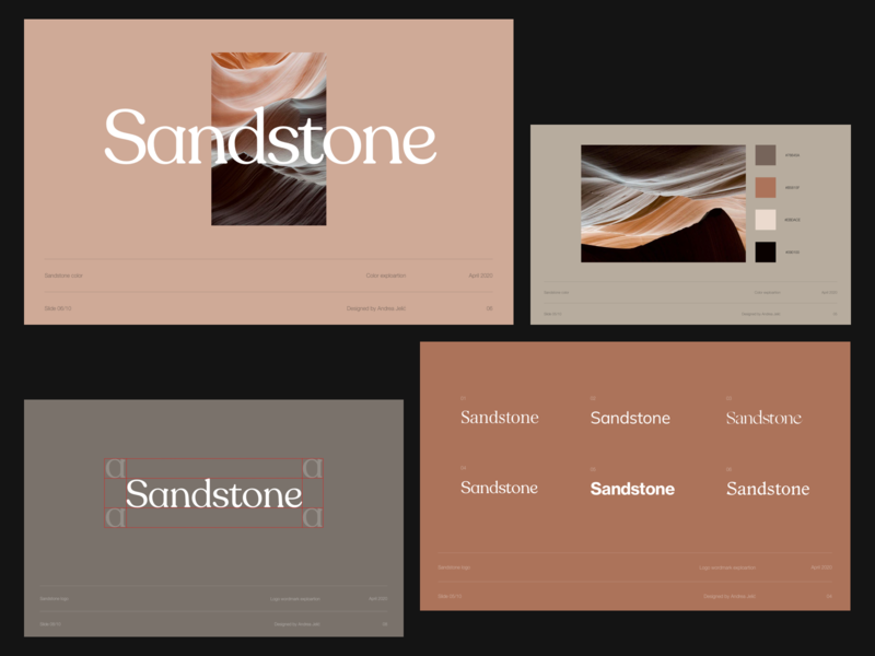 Sandstone design direction sliders presentation template visual identity visual design design exploration presentation design minimalist logotype wordmark logo whitespace layout typography minimal design direction