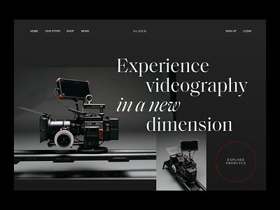 Website Slider Header serif videographer photographer header website photography modern layout typography minimal slider design slider videography video