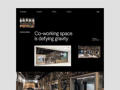 Co-working space Website Header header coworking office website web design minimalist whitespace photography modern layout typography minimal office design office space coworking space coworker