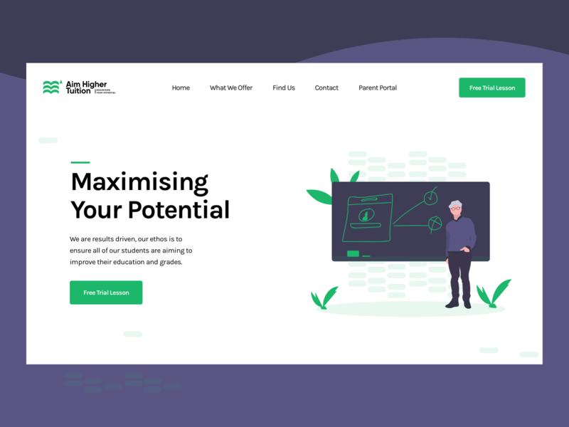 Aim Higher Tuition Website web design minimalist layout header learning platform learning tuition illustration art modern website illustration typography minimal
