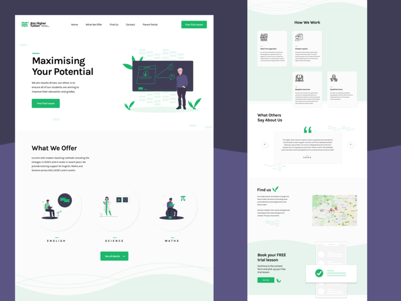 Aim Higher Tuition Website minimalist illustration art illustraion website web design tuition learning platform whitespace modern layout typography minimal